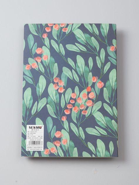 Granatowy notes z roślinnym nadrukiem                              zdj.                              4