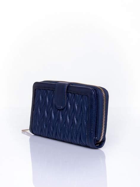 Granatowy pikowany portfel ze złotym suwakiem                                  zdj.                                  3