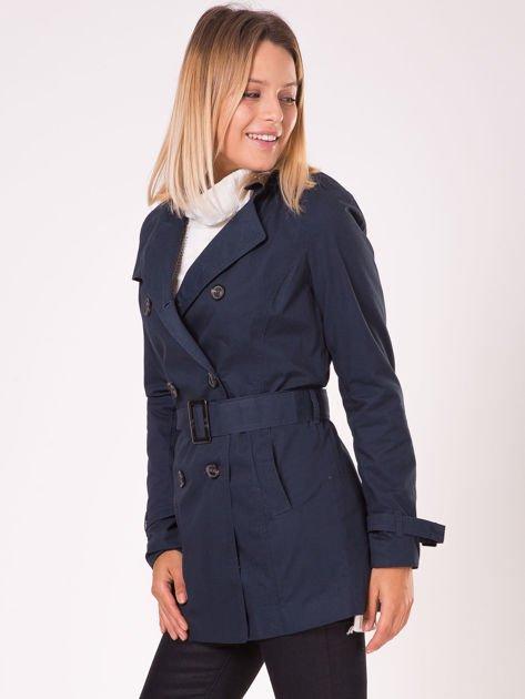 Granatowy płaszcz typu trencz                              zdj.                              5