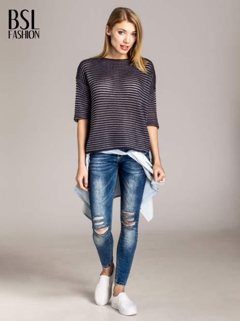 Granatowy półtransparentny sweter w prążki                                  zdj.                                  4
