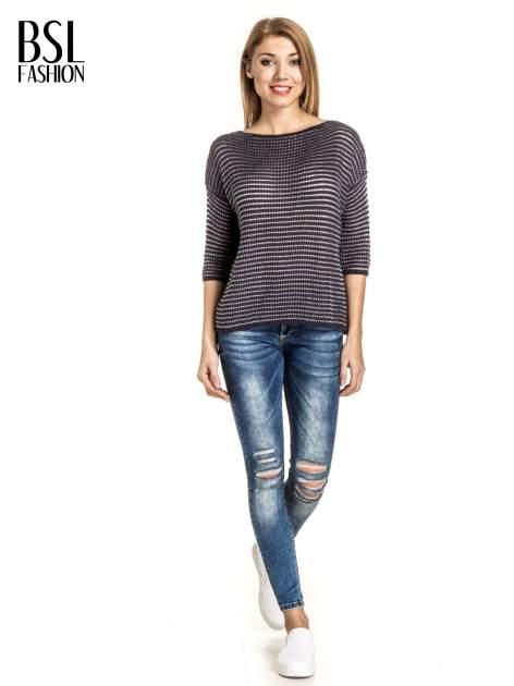 Granatowy półtransparentny sweter w prążki                                  zdj.                                  6