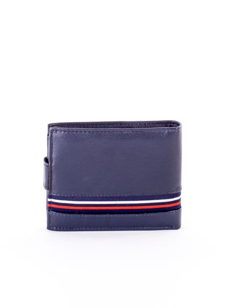 Granatowy portfel dla mężczyzny z materiałowym modułem                              zdj.                              2