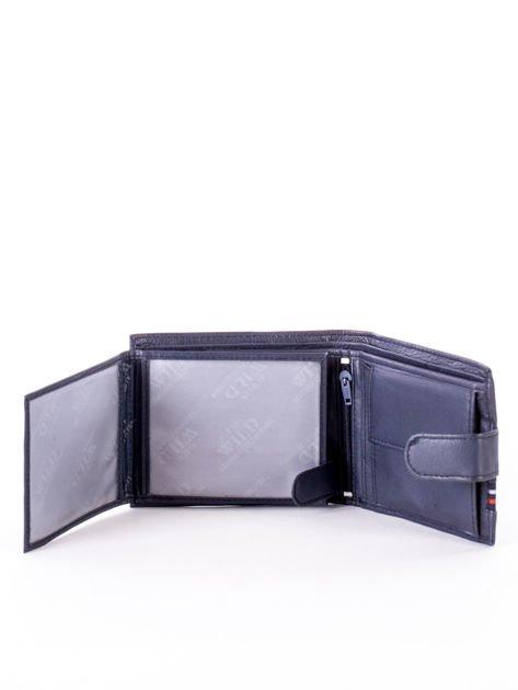 Granatowy portfel dla mężczyzny z materiałowym modułem                              zdj.                              4