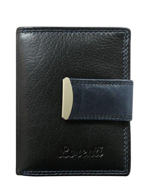 Granatowy portfel skórzany z suwakiem i zatrzaskiem