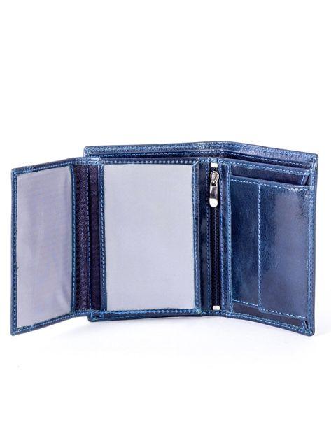 Granatowy portfel skórzany z tłoczeniem                              zdj.                              5