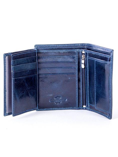 Granatowy portfel skórzany z tłoczeniem                              zdj.                              6