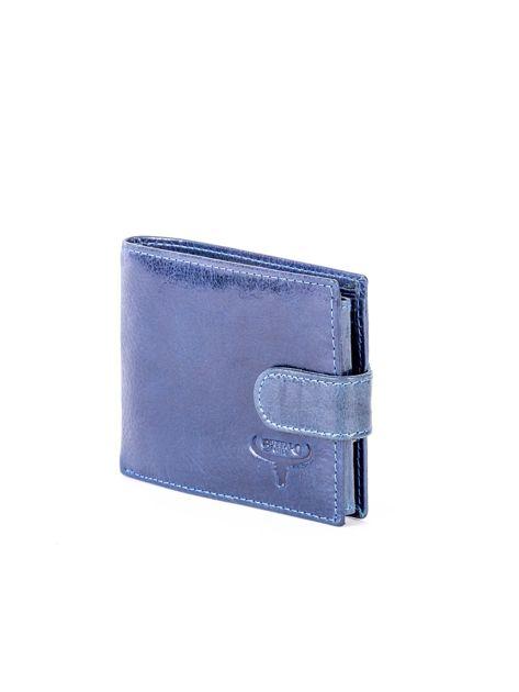 Granatowy portfel skórzany z zapięciem                              zdj.                              5