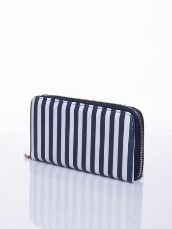 Granatowy portfel w paski z uchwytem                                  zdj.                                  2