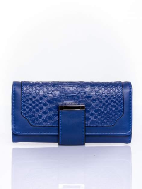 Granatowy portfel z motywem skóry aligatora                                   zdj.                                  1