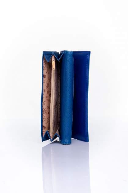 Granatowy portfel z ozdobnym detalem i złotymi okuciami                                  zdj.                                  5
