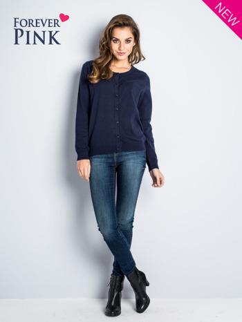 Granatowy rozpinany sweter z bawełny                                  zdj.                                  2