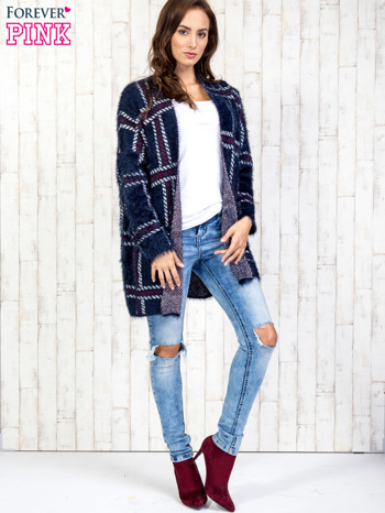 Granatowy sweter w kratę z kieszeniami                                  zdj.                                  2
