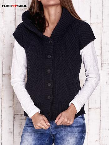 Granatowy sweter z futrzanym kapturem FUNK N SOUL                                  zdj.                                  1