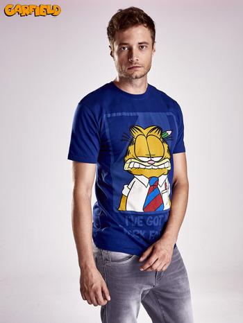 Granatowy t-shirt męski GARFIELD                                  zdj.                                  8