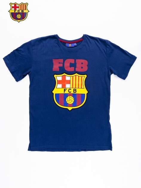 Granatowy t-shirt męski z motywem FC BARCELONA                                  zdj.                                  9