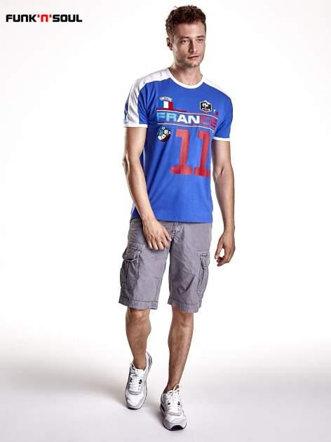 Granatowy t-shirt męski z napisem FRANCE Funk n Soul                                  zdj.                                  4
