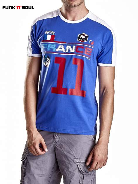 Granatowy t-shirt męski z napisem FRANCE Funk n Soul                                  zdj.                                  5