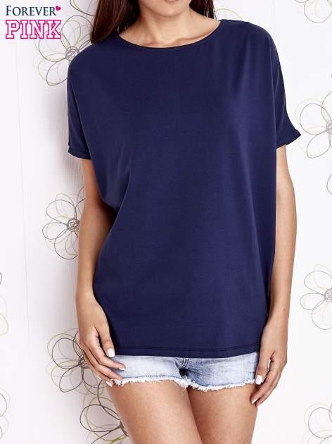 Granatowy t-shirt oversize                                  zdj.                                  1