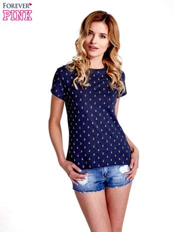 Granatowy t-shirt w drobne kotwice                                  zdj.                                  1
