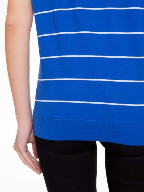Granatowy  t-shirt w paski                                   zdj.                                  8
