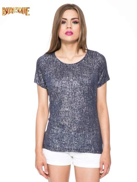 Granatowy t-shirt w srebrne plamki                                  zdj.                                  12
