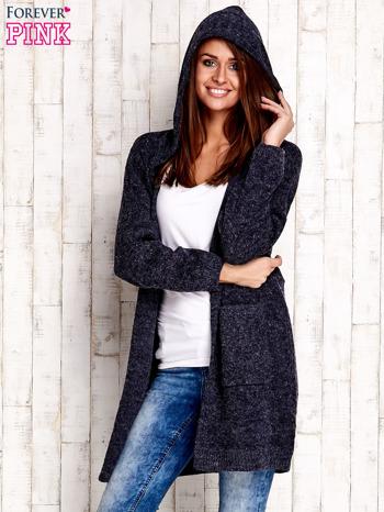 Granatowy wełniany sweter z naszywkami i kapturem                                  zdj.                                  5