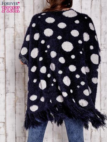 Granatowy włochaty sweter w grochy                                  zdj.                                  2