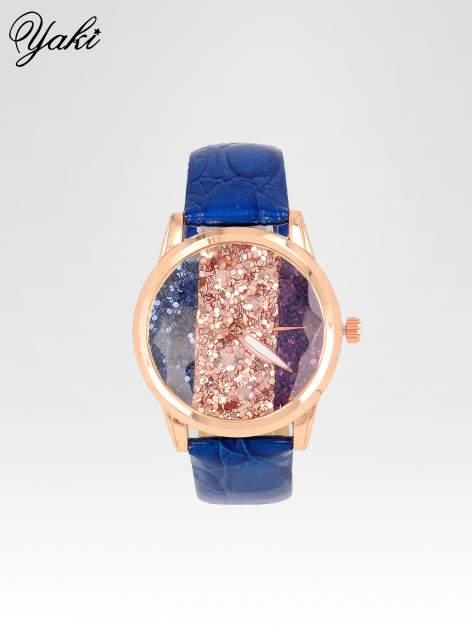 Granatowy zegarek damski na pasku z tarczą glitter