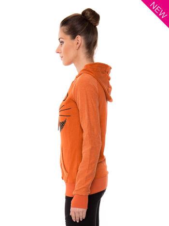 """""""HipsterCat' Pomarańczowa bluza z nadrukiem kota                                  zdj.                                  3"""