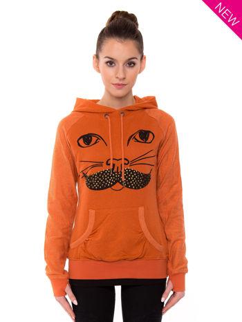 """""""HipsterCat' Pomarańczowa bluza z nadrukiem kota                                  zdj.                                  1"""