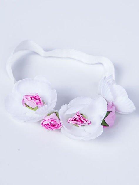 INCA Opaska biała elastyczna do włosów zdobiona kwiatami                              zdj.                              1