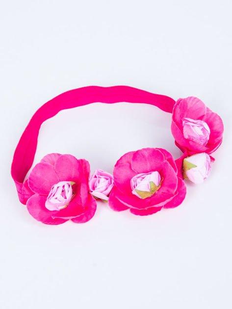 INCA Opaska różowa elastyczna do włosów zdobiona kwiatami                              zdj.                              1