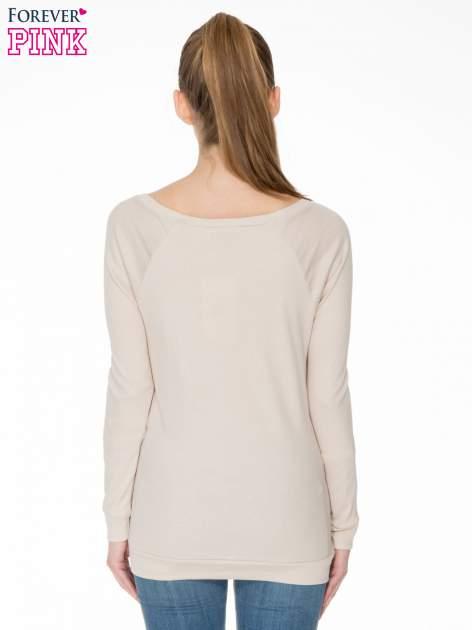 Jasnobeżowa bawełniana bluzka z rękawami typu reglan                                  zdj.                                  4