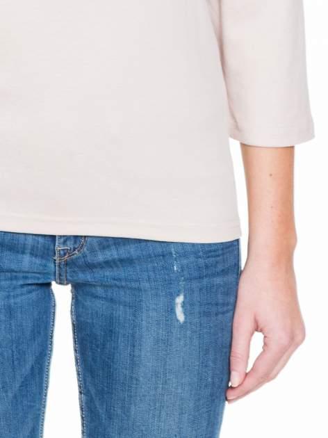 Jasnobeżowa gładka bluzka z rękawem 3/4                                  zdj.                                  6
