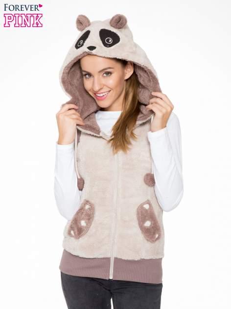Jasnobeżowa pluszowa kamizelka panda z kapturem z uszkami i pomponami                                  zdj.                                  5