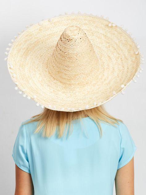 Jasnobeżowe plecione sombrero                              zdj.                              2