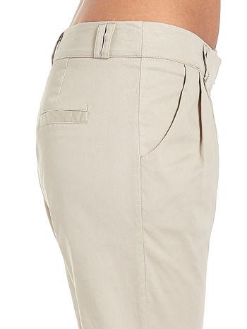 Jasnobeżowe spodnie cygaretki z zakładkami                                  zdj.                                  5