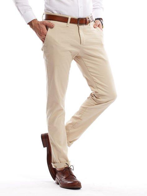 Jasnobeżowe spodnie męskie chinosy o prostym kroju                              zdj.                              1