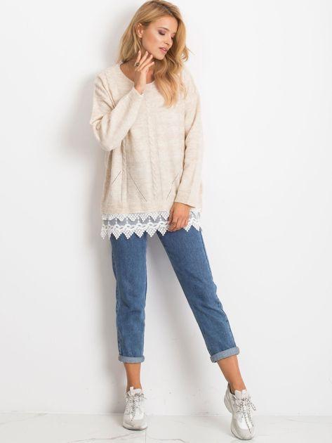 Jasnobeżowy sweter World                              zdj.                              4