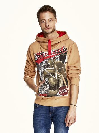 Jasnobrązowa bluza męska z kapturem z napisem SPEED                                  zdj.                                  1