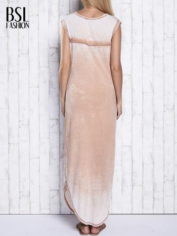 Jasnobrązowa długa sukienka acid wash