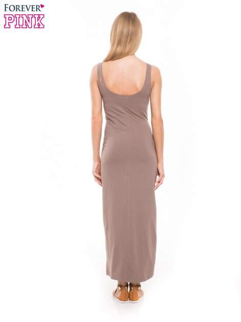 Jasnobrązowa długa sukienka maxi na ramiączkach                                  zdj.                                  2
