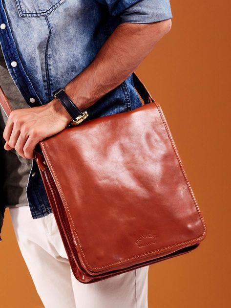 Jasnobrązowa skórzana torba męska                              zdj.                              2