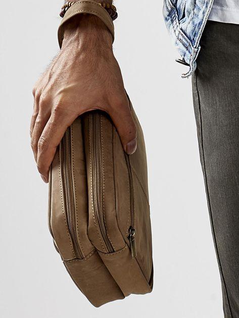 Jasnobrązowa skórzana torba męska do ręki z uchwytem                              zdj.                              2
