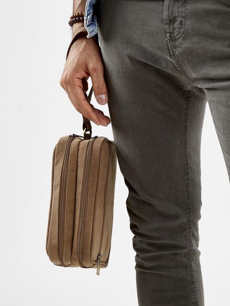 Jasnobrązowa skórzana torba męska do ręki z uchwytem                              zdj.                              3