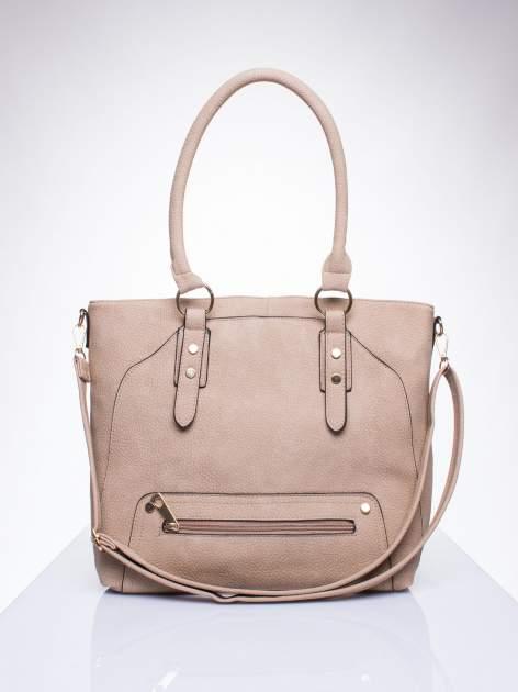 Jasnobrązowa torba shopper bag z suwakiem                                  zdj.                                  1