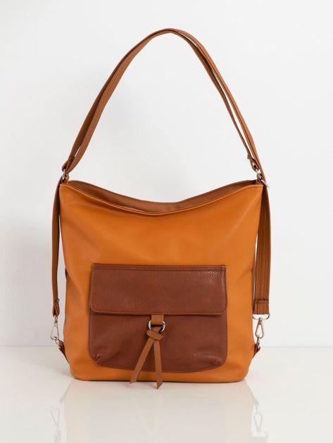 Jasnobrązowa torba z kieszenią