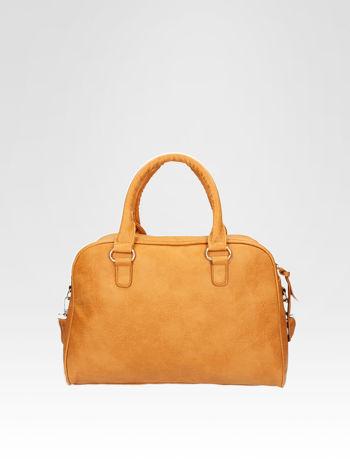 Jasnobrązowa torebka typu miękki kuferek z dodatkowym paskiem                                  zdj.                                  4