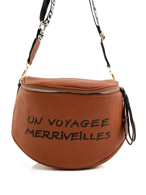 Jasnobrązowa torebka z napisem
