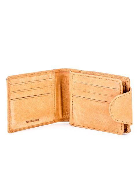 Jasnobrązowy portfel skórzany z tłoczonym krokodylem                              zdj.                              4